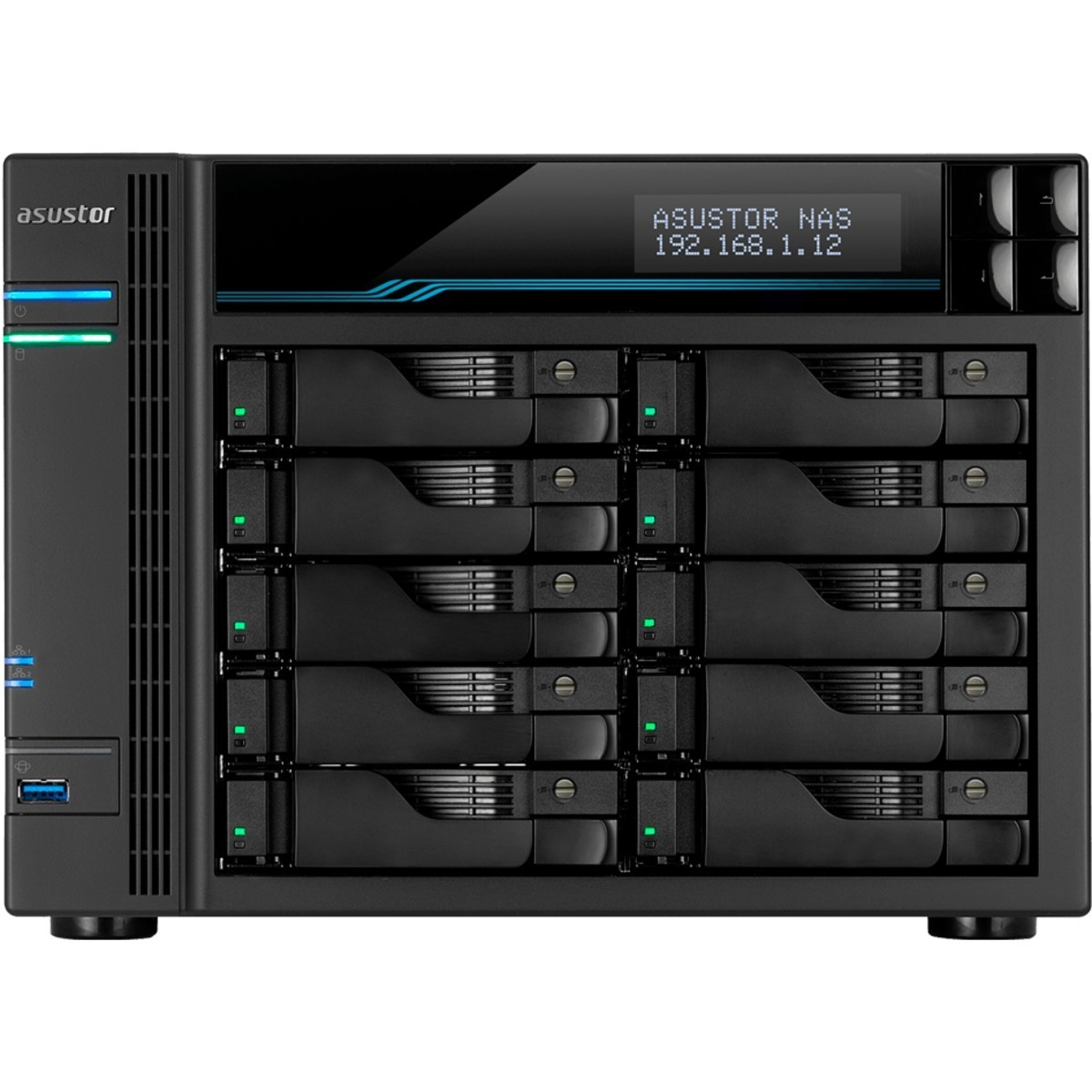 buy $3303 ASUSTOR AS6510T Lockerstor 10 60tb Desktop NAS - Network Attached Storage Device 10x6000gb Western Digital Red WD60EFAX 3.5 IntelliPower SATA 6Gb/s HDD NAS Class Drives Installed - Burn-In Tested - nas headquarters buy network attached storage server device das new raid-5 free shipping usa spring inventory clearance sale happening now AS6510T Lockerstor 10