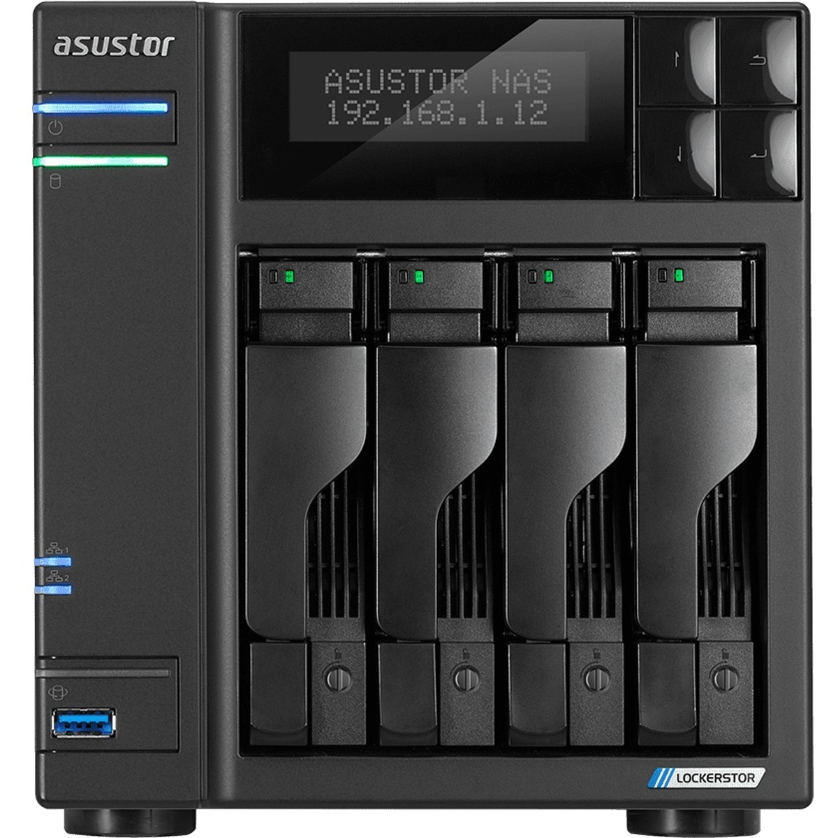 buy $1030 ASUSTOR AS6604T Lockerstor 4 2tb Desktop NAS - Network Attached Storage Device 2x1000gb Samsung 860 EVO MZ-76E1T0BW 2.5 SATA 6Gb/s SSD CONSUMER Class Drives Installed - Burn-In Tested - FREE RAM UPGRADE - nas headquarters buy network attached storage server device das new raid-5 free shipping usa black friday cyber monday week month christmas holiday sale AS6604T Lockerstor 4