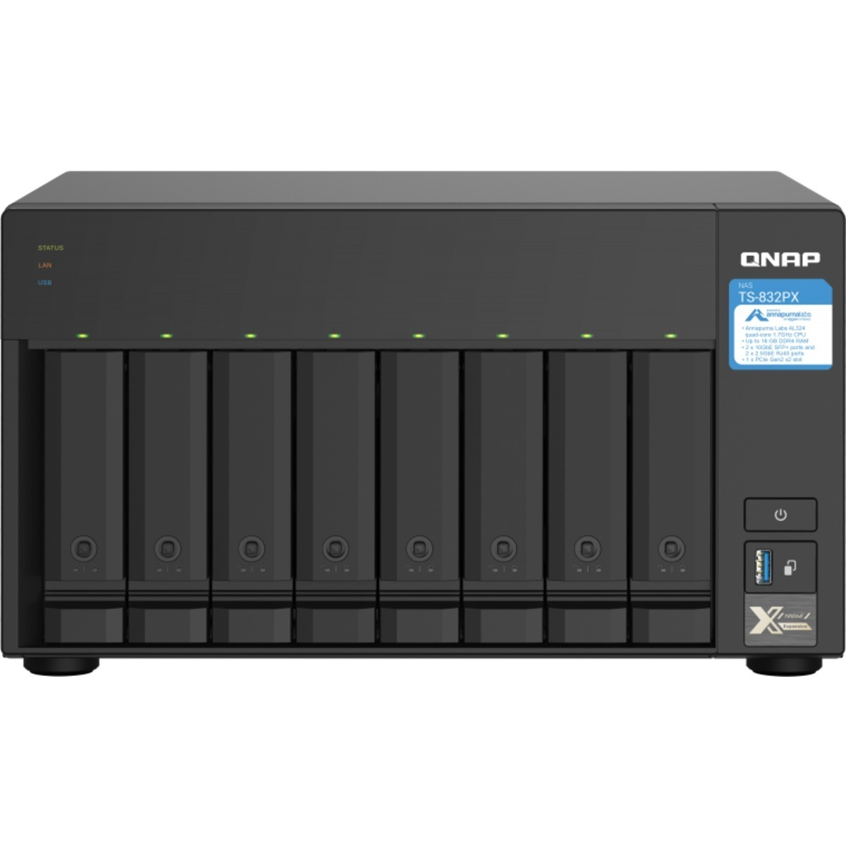 buy $1736 QNAP TS-832PX 32tb Desktop NAS - Network Attached Storage Device 8x4000gb Western Digital Blue WD40EZRZ 3.5 5400rpm SATA 6Gb/s HDD CONSUMER Class Drives Installed - Burn-In Tested - ON SALE - FREE RAM UPGRADE - nas headquarters buy network attached storage server device das new raid-5 free shipping usa holiday new year clearance sale TS-832PX