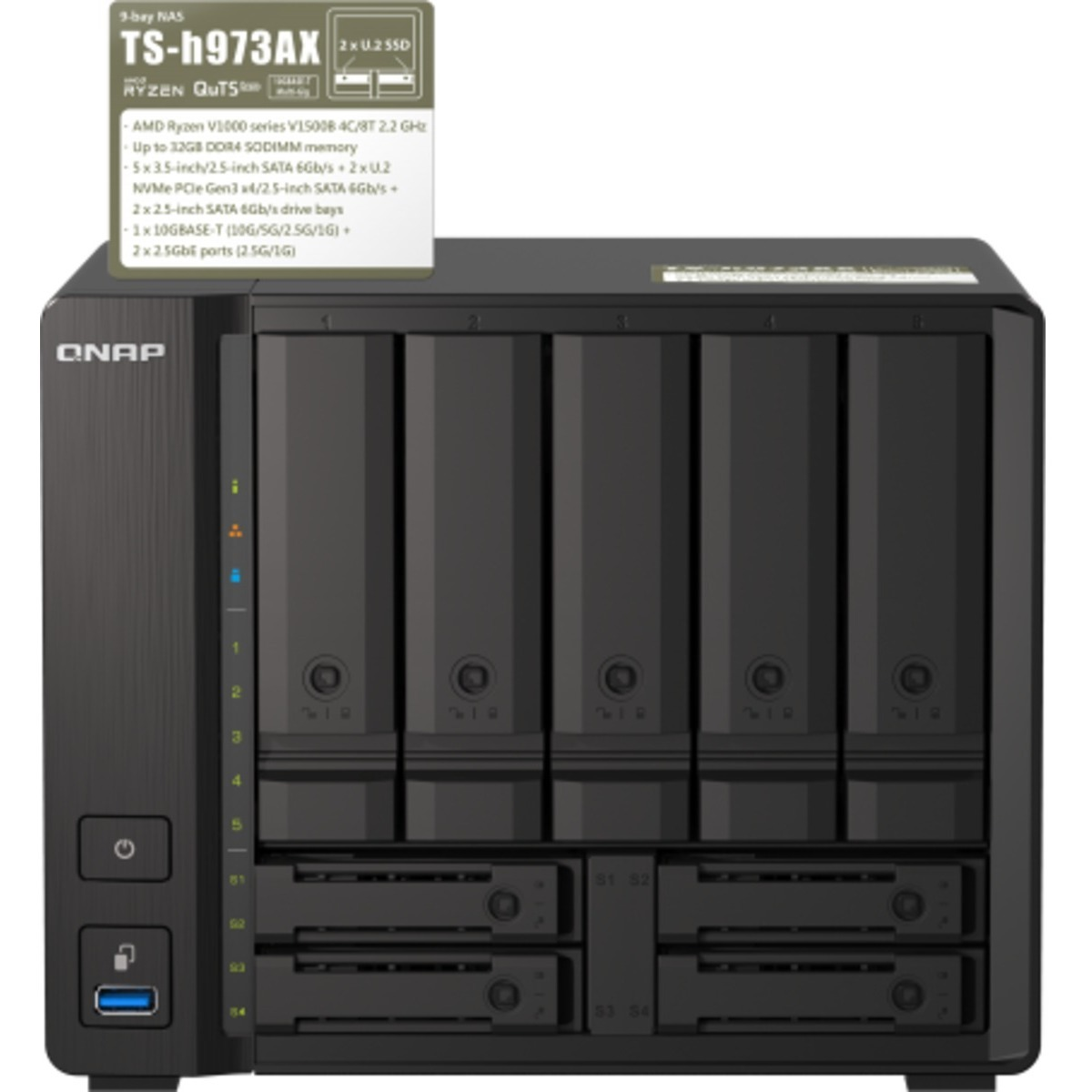 buy $1965 QNAP TS-h973AX  10tb Desktop NAS - Network Attached Storage Device 5x2000gb Crucial MX500 CT2000MX500SSD1 2.5 SATA 6Gb/s SSD CONSUMER Class Drives Installed - Burn-In Tested - ON SALE - nas headquarters buy network attached storage server device das new raid-5 free shipping usa holiday new year clearance sale TS-h973AX