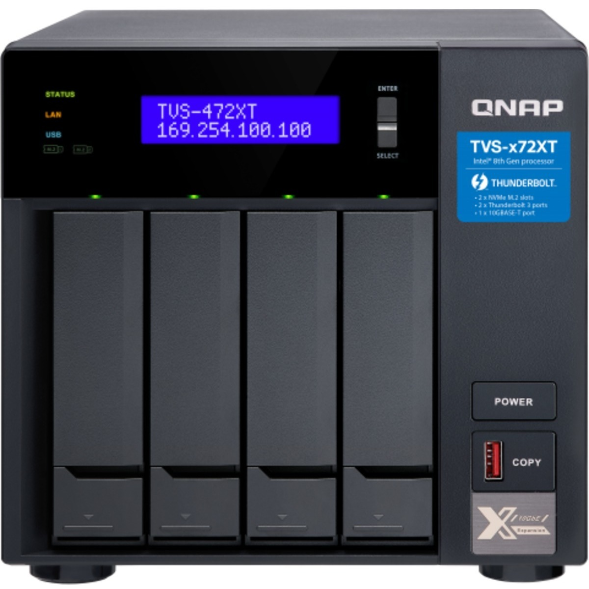 buy $1662 QNAP TVS-472XT Thunderbolt 3 12tb Desktop DAS-NAS - Combo Direct + Network Storage Device 4x3000gb Hitachi HGST Ultrastar 7K4000 HUS724030ALE640 3.5 7200rpm SATA 6Gb/s HDD ENTERPRISE Class Drives Installed - Burn-In Tested - nas headquarters buy network attached storage server device das new sale raid-5 free shipping usa TVS-472XT Thunderbolt 3