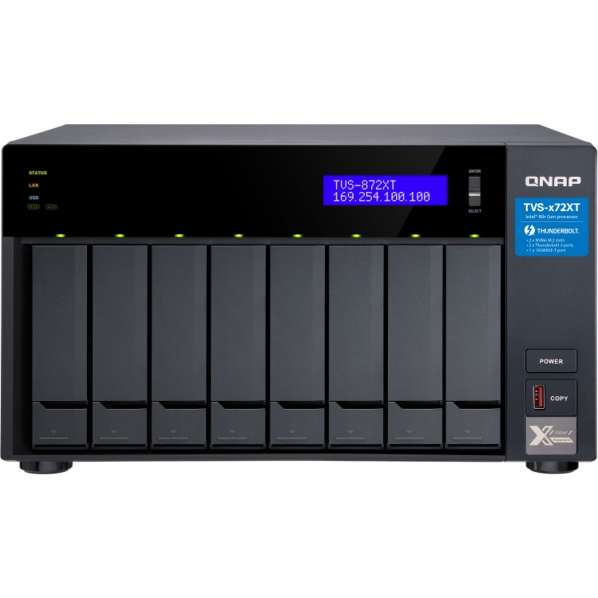 buy $3080 QNAP TVS-872XT Thunderbolt 3 8tb Desktop DAS-NAS - Combo Direct + Network Storage Device 8x1000gb Seagate BarraCuda ZA1000CM10003 2.5 SATA 6Gb/s SSD CONSUMER Class Drives Installed - Burn-In Tested - nas headquarters buy network attached storage server device das new raid-5 free shipping usa holiday new year clearance sale TVS-872XT Thunderbolt 3