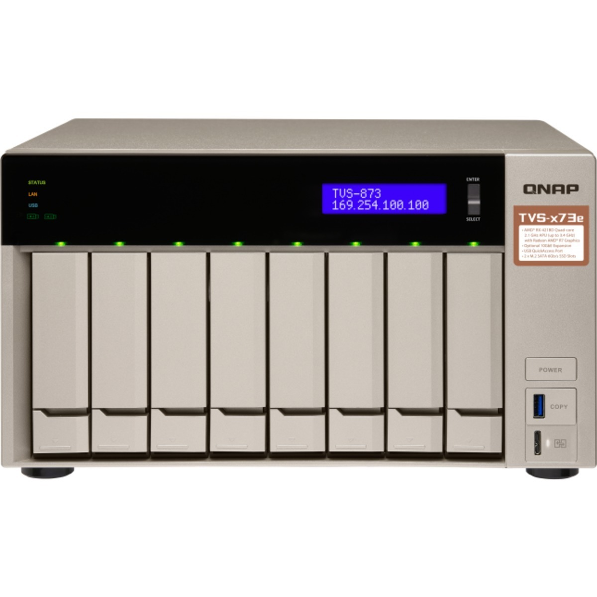 buy $2183 QNAP TVS-873e 24tb Desktop NAS - Network Attached Storage Device 8x3000gb Hitachi HGST Ultrastar 7K4000 HUS724030ALE640 3.5 7200rpm SATA 6Gb/s HDD ENTERPRISE Class Drives Installed - Burn-In Tested - nas headquarters buy network attached storage server device das new sale raid-5 free shipping usa TVS-873e